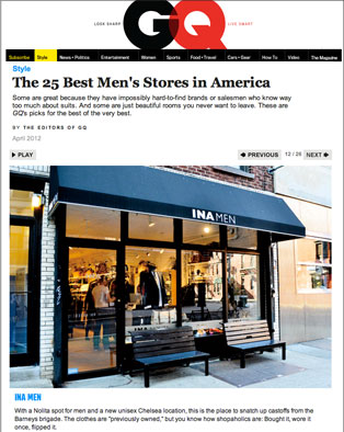 GQ Magazine Online The 25 Best Men's Stores in America; Link